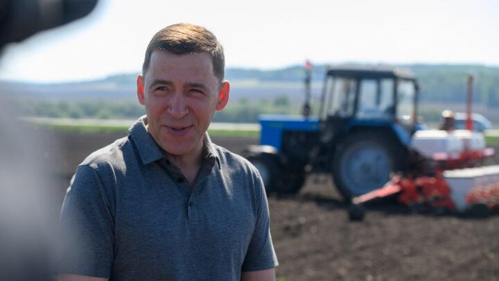 Евгений Куйвашев проверил ход посевной и заявил о переговорах с торговыми сетями о доступности цен на местные продукты