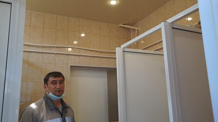 В административно-бытовом комбинате шахты «Черёмуховская» сделали ремонт душевых и сауны